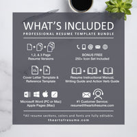 What is included in your Resume Bundle - Professional Resume & CV Template Format Design, Instant Download