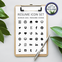 Resume Icons - The Art of Resume CV Template Bundle with Free Cover Letter Instant Download