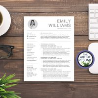 Simple Resume with Photo - Minimalist CV Template - A4 & US