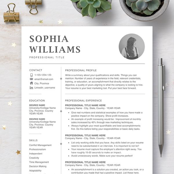 Resume CV Template with Photo Insert - Resumes and Cover Letter