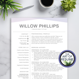 teacher resume cv template design bundle with cover letter, teaching and principal resumes