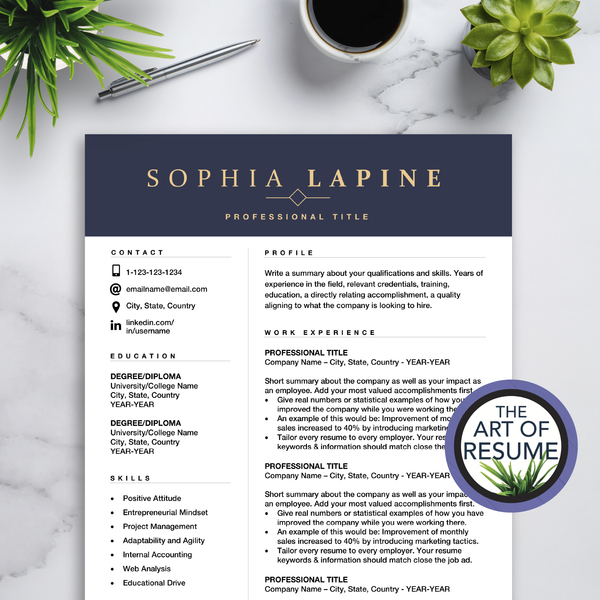 Executive Resume CV Template Design with The Art of Resume