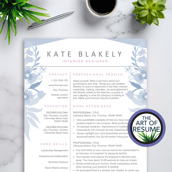 Floral Resume for Fashion, Blogger, Stylist | Blue Resumes