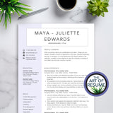 The Art of Resume CV Template Bundle with Free Cover Letter Instant Download