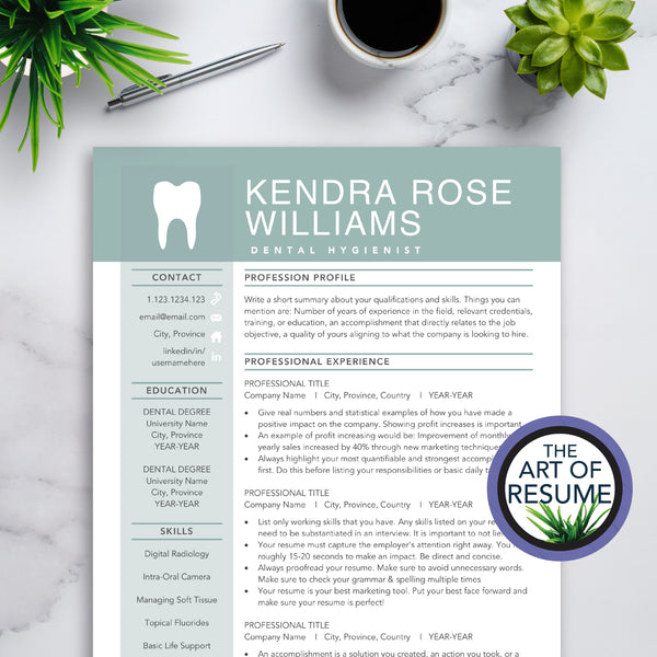 Dentist Hygienist Resume CV Template Bundle Builder 2020 with Free Cover Letter