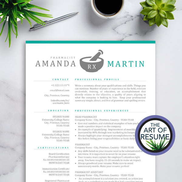 Pharmacy Resume Templates - Pharmacist CV Resumes - Cover Letter