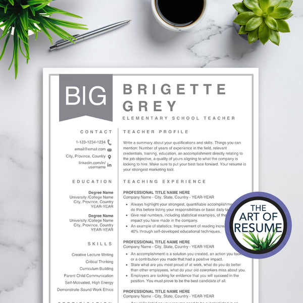 Resume Closeup - The Art of Resume - Curriculum Vitae, Resumes, CV Templates for Teacher with Free Cover Letter