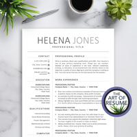 The Art of Resume - Resumes & CV Template Instant Download with Free Cover Letter