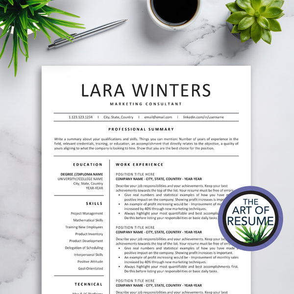 The Art of Resume - Resumes & CV Custom Templates Instantly Download