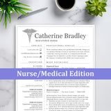 Resume for Nursing, Medical Technician, Doctor - Free Cover Letter & Reference Page