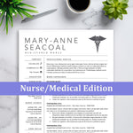 RN Nursing Resume, Resumes for Nurses, Medical Resume CV Template Download with Cover Letter
