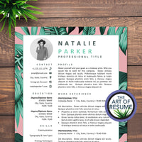 Creative Resume with Photo - Custom CV for Modelling, Blogger, Artist, Fashion