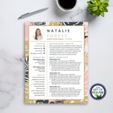 One Page Creative Resume for Fashion, Blogger, Florist, Stylist
