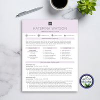 One Page The Art of Resume CV Template Design Bundle Builder 2020 - Free Cover Letter Included