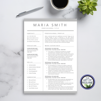 One Page Resume Format - The Art of Resume - Resume and CV Template Designs with Free Cover Letter & Reference Page