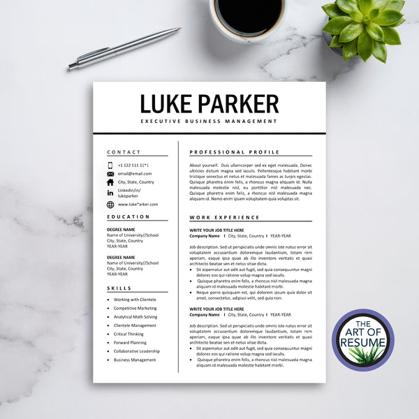 One Page Resume Example - The Art of Resume - Resumes & Cv Building Bundle with Free Cover Letter & Reference Page