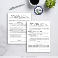 ATS-Friendly Resume CV Template Bundle with Free Resume Writing Guide - Mac & PC - 2-Page Resume