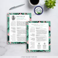 2 Page Creative Resume Template for Fashion, Blogger, Designer, Artist, Stylist