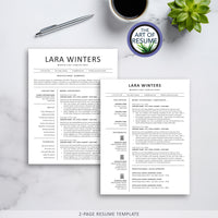 Two Page Resume - The Art of Resume - Resumes & CV Custom Templates Instantly Download