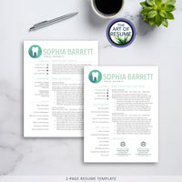 2 Page CV Template - dental hygiene resume template with cover letter - The Art of Resume Bundle