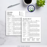 2 Page Resume and Cover Letter Template Instant Download