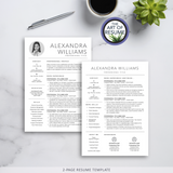 Two Page Resume Template Bundle with Free Resume Cover Letter - The Art of Resume