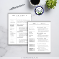 Two Page Resume Bundle - The Art of Resume - Resume and CV Template Designs with Free Cover Letter & Reference Page