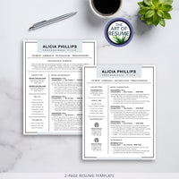 two page resume templates - blue fully customizable
