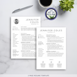 2 Page Resume Version -Resume Template Design with Free Cover Letter and Reference Page, Instantly Download Resumes and CVs Fully Customizable Formats