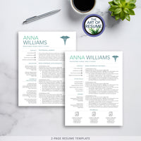Two Page Resume CV Template for RN Nurse, Resumes for Nursing Graduate, Cvs for Doctor, Medical Technician