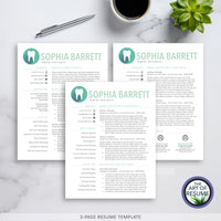 Three Page Template - dental hygiene resume template with cover letter - The Art of Resume Bundle