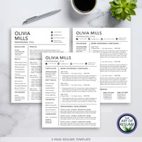 Three Page Resume and Cover Letter Template Instant Download