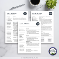 3 Page Resume Template Version - The Art of Resume - Resume Template Design Bundle with Free Cover Letter, Resume Writing Manual, and Resume Action Verb Guide
