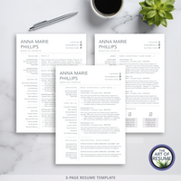 Three Page Resume Design - The Art of Resume - Resume Template Design Bundle