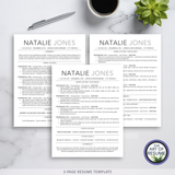 ATS-Friendly Resume CV Template Bundle with Free Resume Writing Guide - Mac & PC - 3 Page Resume