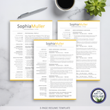 Three Page Resume - resume cv template one page for microsoft word, apple pages. Instantly download resumes format design.