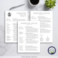 Three Page Resume - 3 Page Resume Version -Resume Template Design with Free Cover Letter and Reference Page, Instantly Download Resumes and CVs Fully Customizable Formats