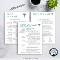 Three Page Resume CV Template for RN Nurse, Resumes for Nursing Graduate, Cvs for Doctor, Medical Technician