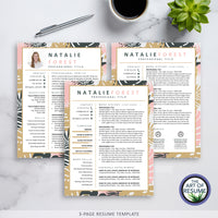 Three Page Creative Resume for Fashion, Blogger, Florist, Stylist