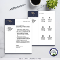 Cover Letter, Reference Page, Executive Resume CV Template Design with The Art of Resume