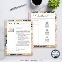 Creative Resume Cover Letter and Reference Page