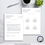Free Cover Letter & Reference Page - The Art of Resume - Resume Template Design Bundle