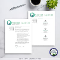Cover Letter & Reference Page Example - Dental & dental hygiene resume template - The Art of Resume Bundle
