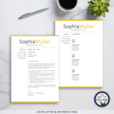 Cover Letter & Reference Page - resume cv template one page for microsoft word, apple pages. Instantly download resumes format design.