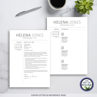 Cover Letter & Reference Page - The Art of Resume - Resumes & CV Template Instant Download with Free Cover Letter
