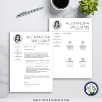 Free Cover Letter and Reference Page with 5 Page Resume Bundle - The Art of Resume CV Templates