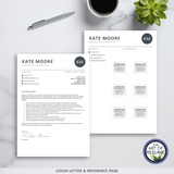 Cover Letter & Reference Page - The Art of Resume - Resume Template Design Bundle with Free Cover Letter, Resume Writing Manual, and Resume Action Verb Guide