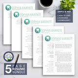 5 Page Resume Builder Bundle- dental hygiene resume template with cover letter - The Art of Resume Bundle