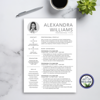 One Page Resume Template Design - The Art of Resume with Free Cover Letter
