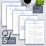Hygienist Dental Resume CV Template //  Instant Download Dentist with Resume Cover Letter